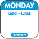 "1"" Monday/Lundi/Lunes Removable Labels 1,000-Count"