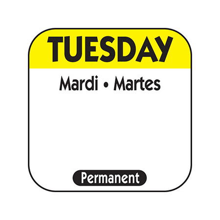 "1"" Tuesday/Mardi/Martes Removable Labels 1,000-Count"