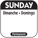 1\x22 Sunday/Dimanche/Domingo Removable Labels 1,000-Count