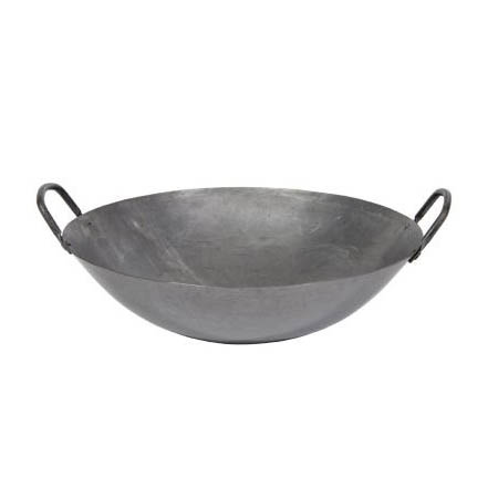 "Town 18"" Hand Hammered Steel Cantonese Wok with Handles 5"" Deep"