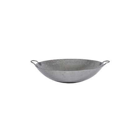 "Town 28"" Hand Hammered Steel Cantonese Wok with Handles 7-1/2"" Deep"