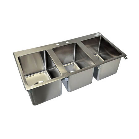 Sauber 3-Compartment Stainless Steel Drop-In Sink