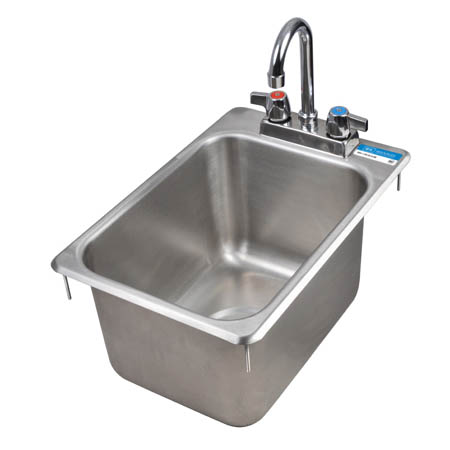 "Sauber 1-Compartment Drop-In Hand Sink with Faucet 18"" x 12-1/4"" x 10""D"