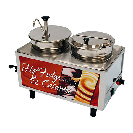 Benchmark USA 51073H Dual 7-Quart Hot Fudge/Caramel Warmer with Ladle and Pump