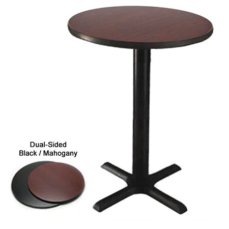 "42"" Round Black/Mahogany Bar-Height Dual-Sided Table Kit 41""H"