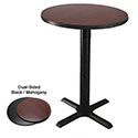 "24"" Round Black/Mahogany Bar-Height Dual-Sided Table Kit 41""H"
