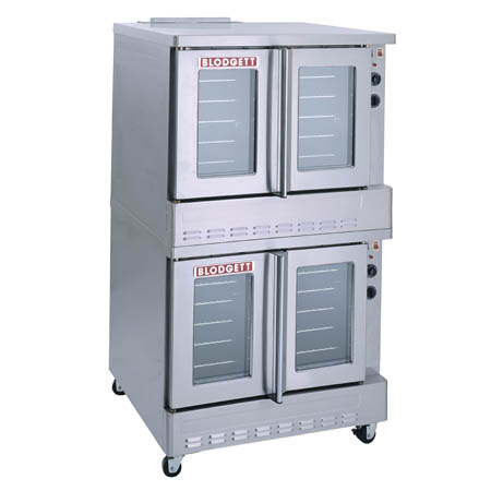 Blodgett Full Size Double Deck Dual Glass Doors Electric Convection Oven with Legs and Casters