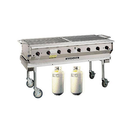 "MagiKitch'n Outdoor Gas Grill with Two 40lb Propane Tanks 61""W"
