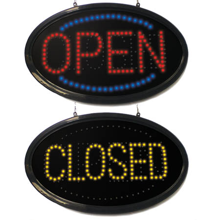 "Mystiglo LED Open-Closed Sign with Remote 24"" x 14"" x 1-1/3"""