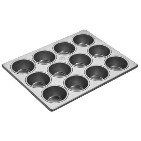 "Focus 2-3/4"" Diameter 12 Cup Aluminized Steel Muffin Pan"