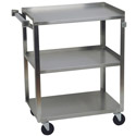 "Sauber 3-Shelf 300 lb. Capacity Stainless Steel Utility Cart 24""L x 15-1/2""W x 34""H"