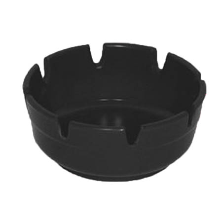 "Gessner Black Plastic Ashtray 4"" Diameter"