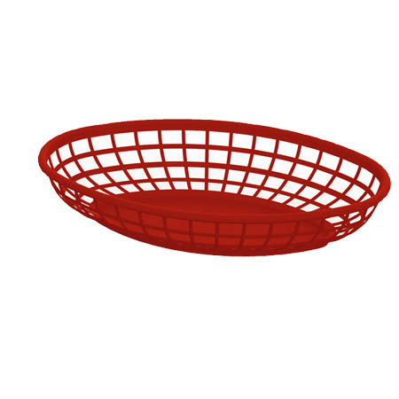 "Impact Red Plastic Oval Basket  9-3/8"" x 5-15/16"""
