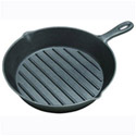"Tomlinson 11-1/4"" Ribbed Surface Cast Iron Fry Pan"