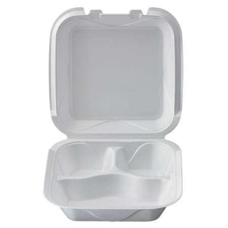"White Take Out 3-Compartment Hinged Foam Clamshell 8-1/3"" x 8-1/3"" x 2-4/5"""