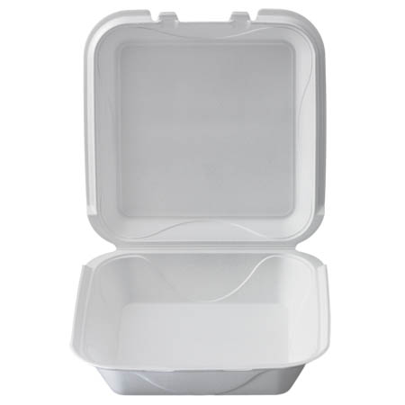 "White Take Out Hinged Foam Clamshell 9-1/5"" x 9-1/5"" x 3"""