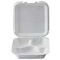 White Take Out 3-Compartment Hinged Foam Clamshell 9-1/4\x22 x 9-1/4\x22 x 3\x22