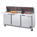 "Beverage-Air 18 Pan 10"" Cutting Board Sandwich Prep Table 72""W"