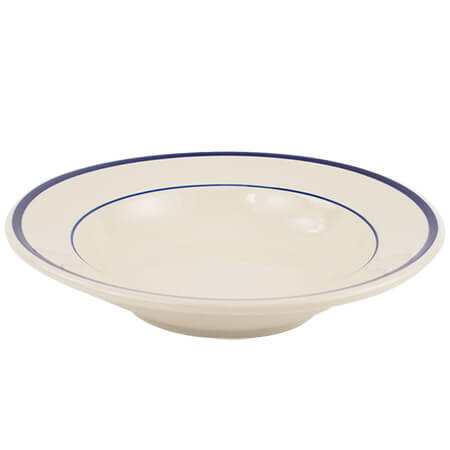 "ITI 11-1/2"" American White Salad or Pasta Bowl with Blue Striped Rim"