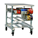 "Half-Size Aluminum Mobile Can Rack with Stainless Steel Worktop 25""W x 35""D"