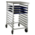 Half-Size Mobile Aluminum Sheet Pan Rack with Stainless Steel Worktop for 10 Full-Size Pans