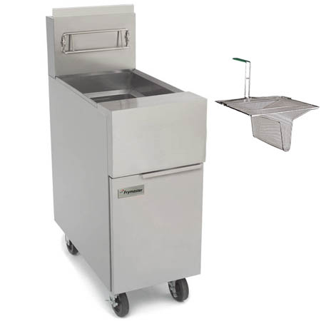 "Frymaster 50 lb. Open Pot Gas Fryer with Casters and Sediment Tray 15""W"