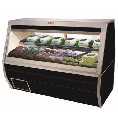 "Howard McCray 45 cu. ft. Double Duty Black Refrigerated Deli Meat and Cheese Case 71""W"