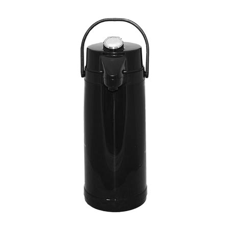 Service Ideas 2.2 Liter Glass Lined Black Airpot with Lever