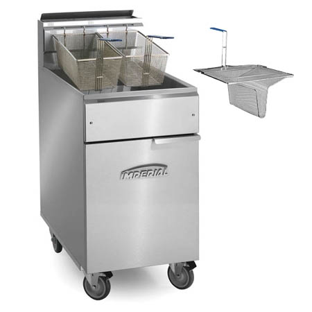 "Imperial 40 lb. Open Pot Gas Fryer with Casters and Sediment Tray 15-1/2""W"