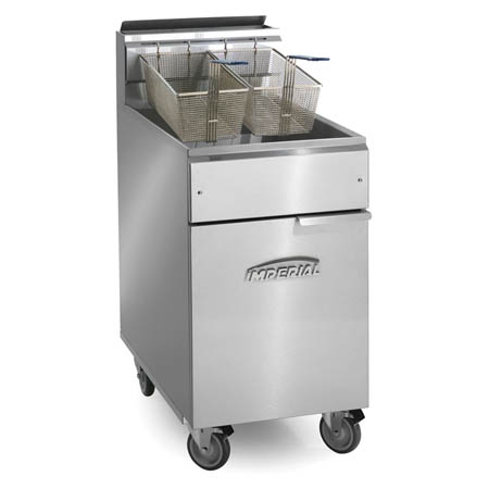 "Imperial 40 lb. Open Pot Natural Gas Fryer with Casters 15-1/2""W"