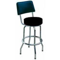 Single Ring Contemporary Swivel Bar Stool with Chrome Base and Black Vinyl Seat