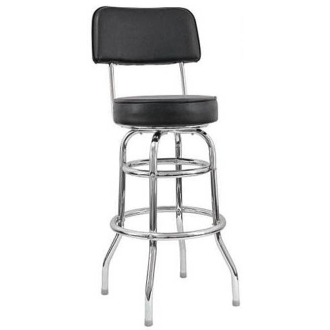 14 Inch Round X 42 Inch Hblack Seat Double Ring Bar Stool
