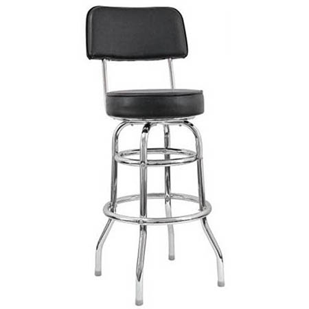 Double Ring Contemporary Swivel Bar Stool with Chrome Base and Black Vinyl Seat