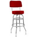 Double Ring Contemporary Swivel Bar Stool with Chrome Base and Red Vinyl Seat
