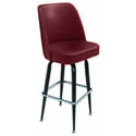 Single Ring Swivel Bar Stool with Black Base and Crimson Vinyl Bucket Seat
