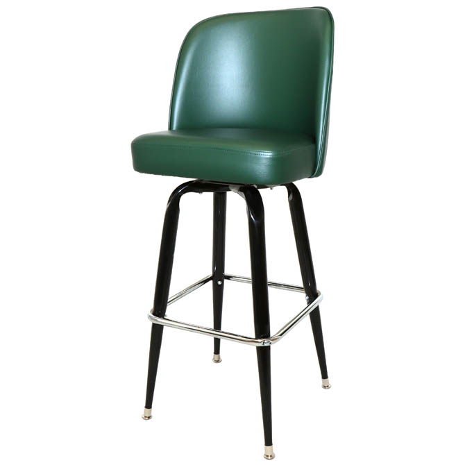 Single Ring Swivel Bar Stool With Black Base And Green