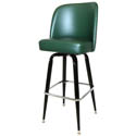 Single Ring Swivel Bar Stool with Black Base and Green Vinyl Bucket Seat
