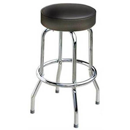 Single Ring Swivel Bar Stool with Chrome Base and Black Vinyl Seat