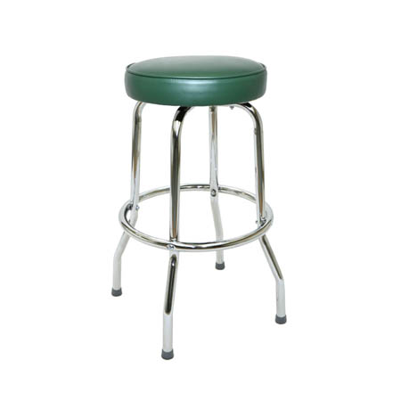 Single Ring Swivel Bar Stool with Chrome Base and Green Vinyl  Seat
