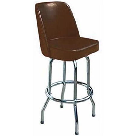 16 Inch D X 17 W X 43 H Brown Seat Single Ring Bar Stool