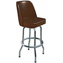 Single Ring Swivel Bar Stool with Chrome Base and Brown Vinyl Bucket Seat