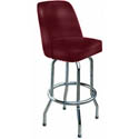 Single Ring Swivel Bar Stool with Chrome Base and Crimson Vinyl Bucket Seat