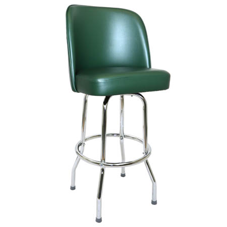 Single Ring Swivel Bar Stool with Chrome Base and Green Vinyl Bucket Seat