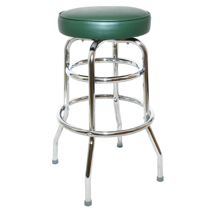 Double Ring Swivel Bar Stool With Chrome Base And Green