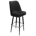 Single Ring Club Style Swivel Bar Stool with Black Base and Black Vinyl Seat