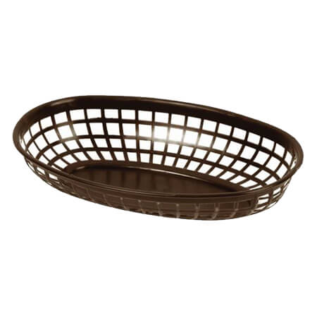"Thunder Group Brown Plastic Oval Basket 9-3/8"" x 5-5/8"" x 2"""