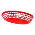 Thunder Group Red Plastic Oval Basket 9-3/8\x22 x 5-5/8\x22 x 2\x22