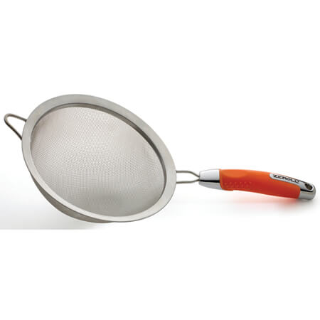 "Zeroll Stainless Steel 8"" Strainer with Orange Handle"