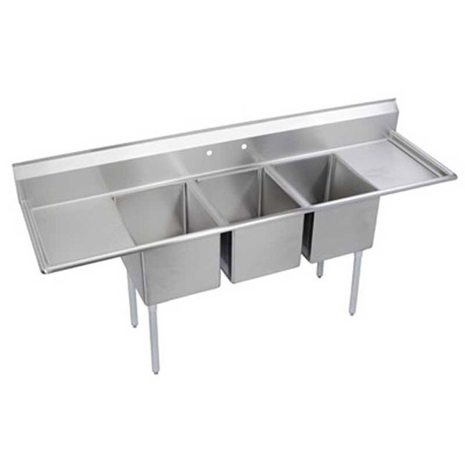 Faucet For 3 Compartment Sink : sink with two 18 drainboards 88 l 3 compartment stainless steel sink ...