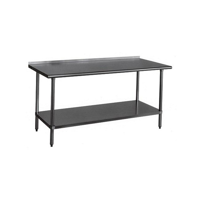 sauber stainless steel work table with 2 backsplash 72w x 24d zoom - Stainless Steel Work Table With Backsplash